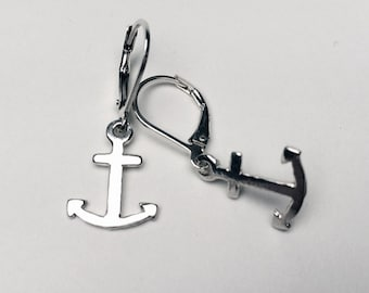 Tiny silver anchor earrings on leverback wires