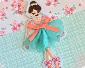 BALLERINA GIRL Paperclip - Embroidered girl in tutu - Page Clip | Bookmark | Page Marker . Planner accessories supply.
