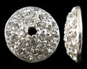 2pc 16mm  silver finish rhinestone metal bead cap-8499b