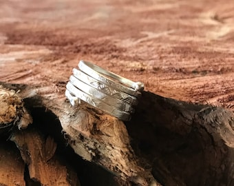 Fine silver textured ring(size 6.5)