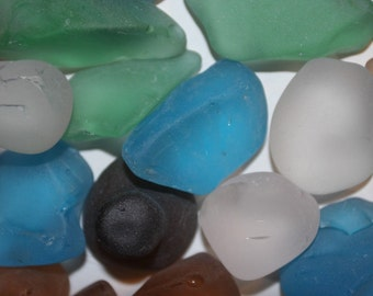 2 lbs) Large Sea Glass, sea glass for ocean wedding tabletop decor, sea glass for beach wedding decor, mixed colors sea glass, L~