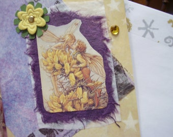 Purple and Yellow Fairies and Flowers card