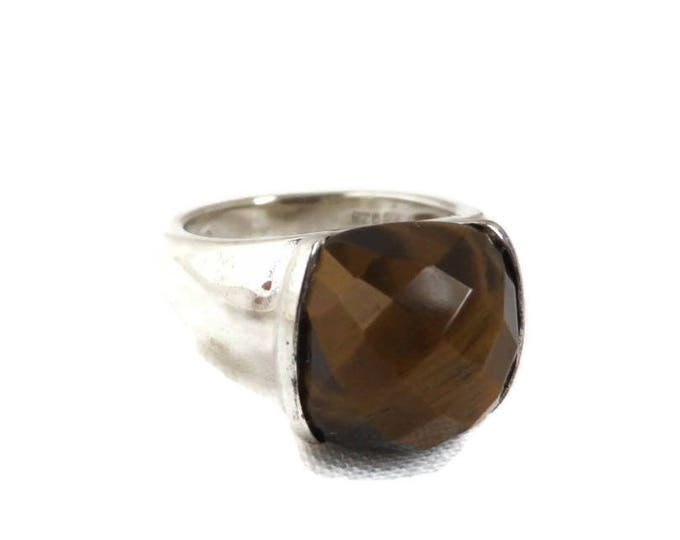 Tiger Eye Ring, Vintage Sterling Silver Ring, Faceted Stone Ring, Statement Ring, Brown Stone Ring, Gifts