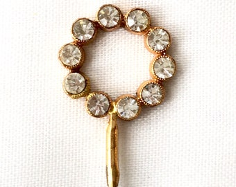 Rhinestone Pin, Art Deco Pin, Rhinestone Lapel Pin, Lapel Pin Gold, Vintage Stick Pin, Vintage Hat Pin, Rhinestone Stick Pin