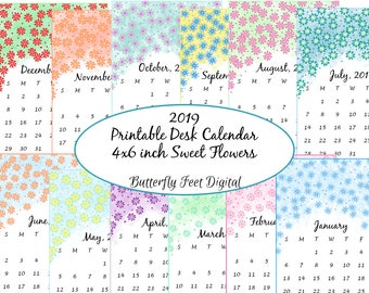 Printable 2019 Desk Calendar, 4 x 6 Inch, Floral Calendar, Desk Decor for Home, Office, Instant Download