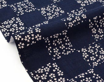 Fabric beige cherry blossom Japanese blue maine x 50cm