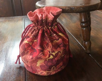 Handmade Drawstring Bag.Drawstring Gift Bag.Autumn Colour.Unique.Drawstring Tote.Birthday  Gift.