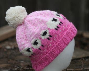 Sheep Hat in Pinks Hand Knit Wool