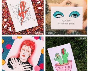 David Bowie - Inspired Art Print / 5 X 7 Print Set