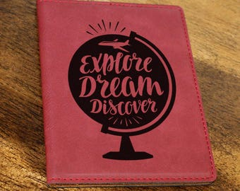 Passport Holder/Passport Cover/Travel/Explore/Dream/Discover/Plane/Map/Globe/Leatherette//Engraved/Color Choices