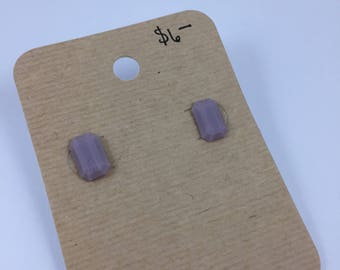 Purple rectangle gem resin earrings