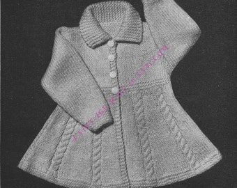 Girl's Flared Dress Coat in DK Light Worsted 8ply  With Cables; 3 Sizes 1 Yr / 1 .5Yrs / 2 rs - PDF of a Vintage Knitting Pattern