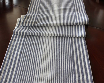 Striped Cotton Table Runner -  Cream and Blue - Select Your Length