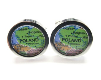 Poland Map Pendant Cufflinks