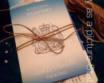 30 x passport wedding invitations, wedding abroad, destination invites, save the dates, beach wedding, travel theme invites, rustic invite