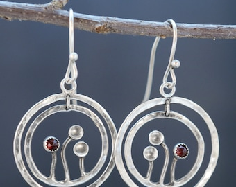 Sterling Silver Hoop Earrings with Garnet Flowers