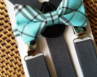 Turquoise Bow Tie and Grey Suspenders, Turquoise Baby Bow Tie, Turquoise Toddler Bow Tie, Baby Bow Tie, Ring Bearer, 6 Months to 5 Years Old