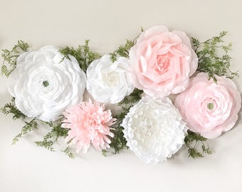 Crepe Paper Wall Flower Set of Mixed Styles-Paper Ranunculus-Paper Roses-Nursery Wall Flowers