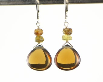 Beer/Whiskey Quartz and Petrol Tourmaline Drop Earrings