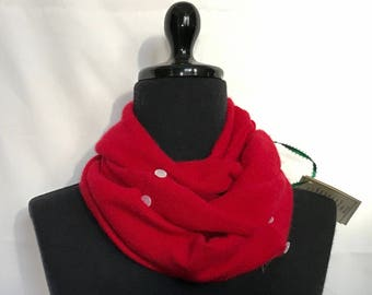 Red Infinity Cashmere Wool Scarf made from an Upcycled Sweater