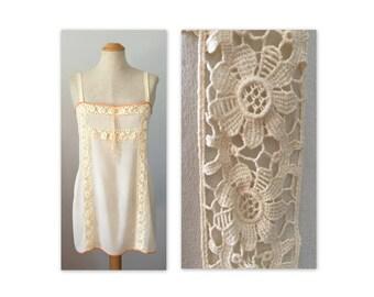 Vintage des années 20 en soie Chemise S coton dentelle Inserts Lingerie clapet sous-vêtement