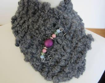 "Alpaca Handspun Handknit ""Short"" Scarf/Neckwarmer - Handmade Scarf Pin Included"