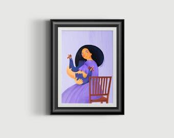 Woman With chiken, Woman print, woman art, landscape print, chicken print, wall art, woman portrait, mid century, modern print