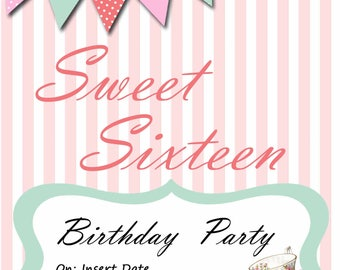 Sweet 16 invitation, Tea Party Invitation, Custom Party Invitation, Digital Download, Custom Orders, Birthday Party, Editable invitation
