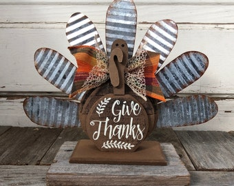 AG Designs Fall Decor - Small Give Thanks Galvanized Turkey Tablesitter