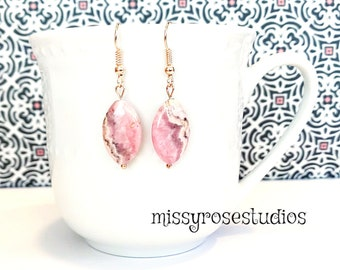 pink gemstone earrings, rhodochrosite earrings, oval earrings, earrings handmade, rose gold earrings, jewelry handmade, gift for mom