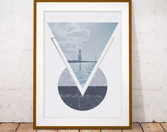 Seascape Art Print, Geometric Coastal Wall Art, Minimalist Deco, New Home, Housewarming Gift, Digital Download