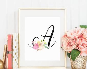 Custom 8x10 Watercolor Floral Letter Printable, Digital Print