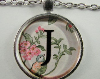 """Initial """"J"""" Necklace -- Spring pattern Personalized Letter J Necklace, Wedding Necklace, Bridesmaid Necklace, Hen Night Necklace, Friendship"""