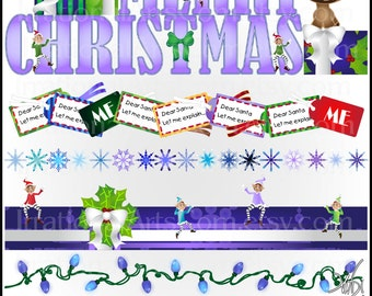 Christmas Borders set 3 INSTANT DOWNLOAD 5 digital png files Elves present gift tags Merry Christmas rudolph snowboarders skiing snow globe