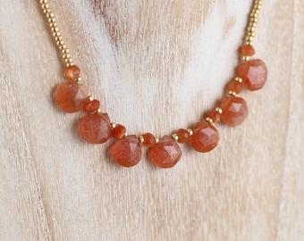 Sunstone, Miyuki Seed Bead & Gold Filled Necklace. Orange Gemstone Beaded Bib Necklace. Dainty Layering Necklace. Rose Gold, Sterling Silver