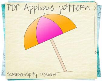 Beach Umbrella Applique Template - Summer Quilt Applique Pattern / Beach Kids Quilt / Summer Sewing Pattern / Umbrella Table Runner AP129-D