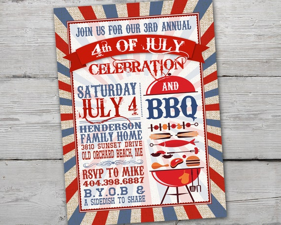 vintage fourth of july bbq invitation 4th of july party. Black Bedroom Furniture Sets. Home Design Ideas