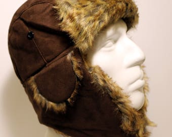 Aviator Hat, Brown Hat, Pilot Leather Cap, Suede Leather Hat, Leather Pelt, Gift for Man, Winter Hat, Travel Gift, Ear Flap Hat