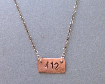 412 Hand-stamped Copper Necklace