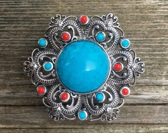 Large Boho Drawer Knobs - Furniture Knobs - Cabinet Knobs with red and blue turquoise (MK109)