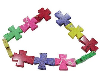 Cross Howlite Beads - Multicolor - Sold per strand - #TURQ206