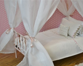 Canopy White Sheer for Doll Canopy Bed Blythe Barbie Playscale