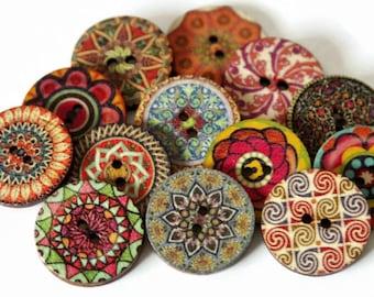 6 große gedruckte Knöpfe - 25mm - Holzknöpfe - gemischt - Blumenknöpfe - Blume gedruckten Muster - MDF Tasten - Sperrholz - PW381