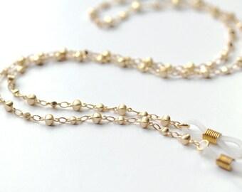 Matte Satin Gold Eyeglass Chain, Lanyard, Eyeglass Necklace, Eyeglass Chain, Eyewear, Eyeglass Lanyard, Chain Lanyard, Glasses Chain, Gold