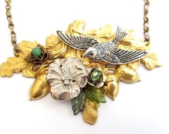 Fairytale Forest Bib Statement Necklace in Green Adjustable Length #1468 Fantasy Floral