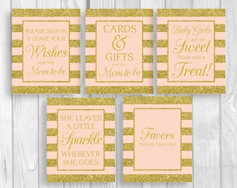 SALE Pink and Gold Glitter Stripes Printable Baby Shower Sign Bundle - Guest Book, Gift Table, Favor Table and More - Instant Download