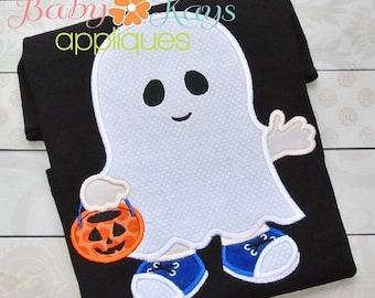 ON SALE Little Ghost Boy Applique Design 4x4, 5x7, 6x10, 8x8