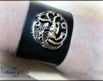 Three Dragon Cuff, Leather Bracelet, Silver Dragons Pendant, Black Leather Cuff, Brown Leather Cuff