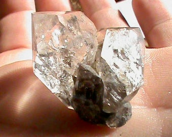 Herkimer Diamond Crystal with PHANTOM 23x28 mm NY Herkimer Quartz Crystal for Jewelry - Natural Uncut Double Terminated Yoga Healing