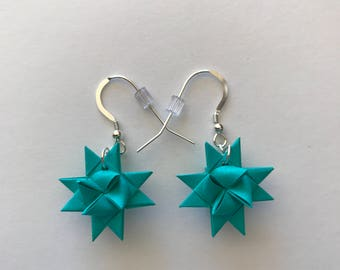Moravian Star Earrings—Aqua